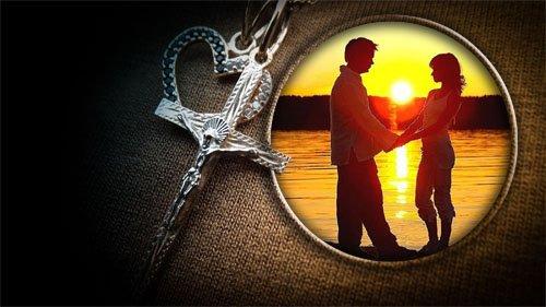 Рамка psd - Сердечко с крестиком