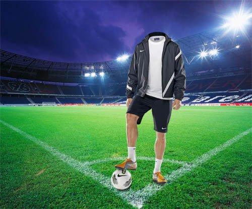 Шаблон для фотомонтажа - Футболист перед игрой