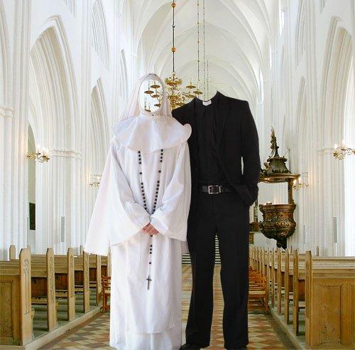Шаблон для фотомонтажа - Монашка и священник