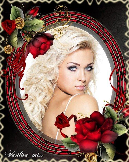 Женская рамка с бордовыми розами для элегантного оформления фото