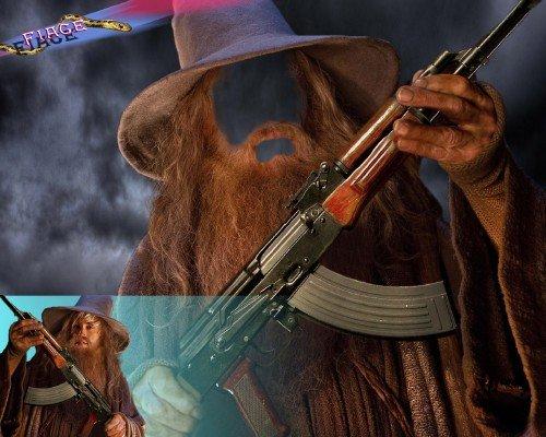 Костюм для монтажа - Воин с автоматом и бородой