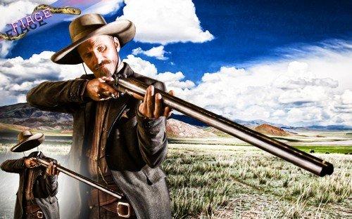 Шаблон для photoshop - Шериф с ружьем