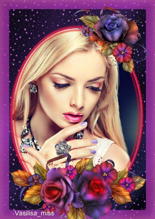 Женская цветочная рамка - Очарование роз в ночи