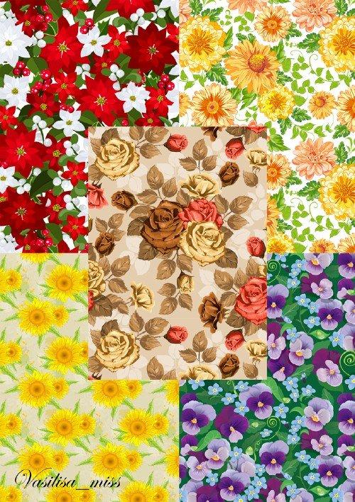 Цветочные фоны с фиалками, подсолнухами, розами