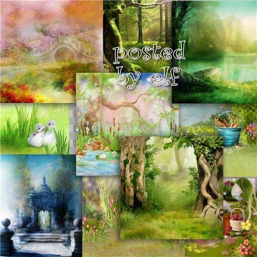 Сказочные фоны для создания детских коллажей
