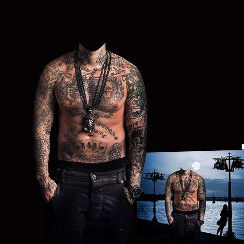 Мужской шаблон - Тело в татуировках