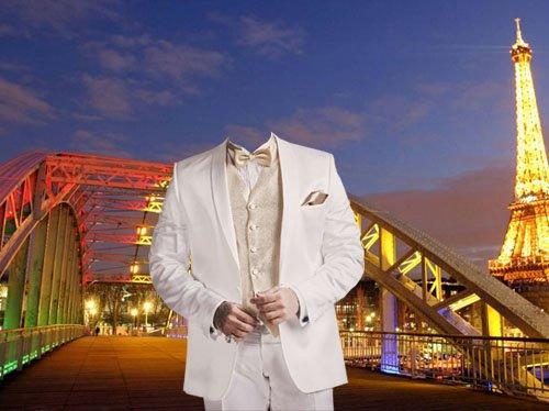 Мужской шаблон - В белом стильном костюме