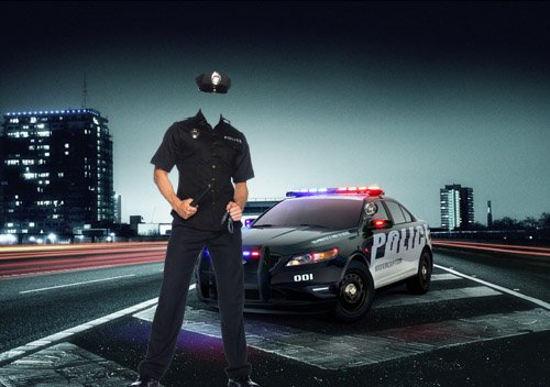Шаблон для фотомонтажа - Полиция на страже