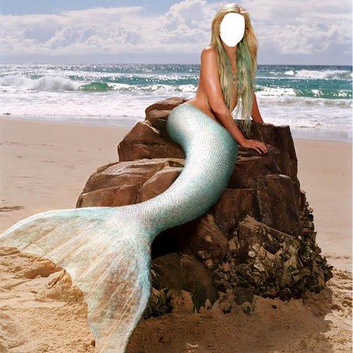 Шаблон для фотомонтажа - Русалка на камне у моря