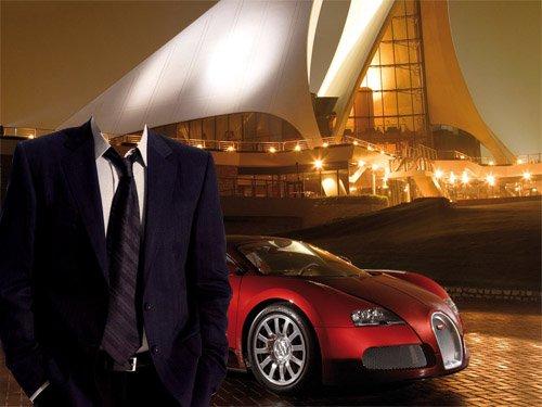 Шаблон psd мужской - В костюме на фоне дорогого авто