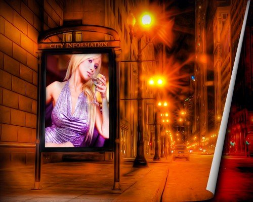 Фоторамка женская - В центре города на рекламном стенде