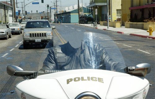 Шаблон psd - На мотоцикле полиции
