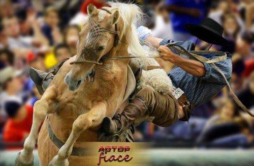 Шаблон для фотошоп - Ковбой на коне