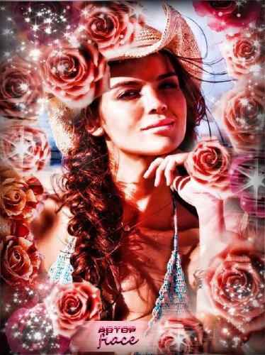 Красивая рамочка psd - В красных розах