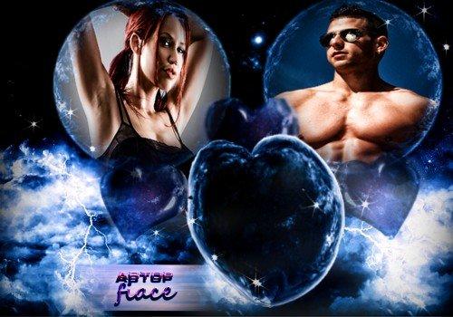 Красивая рамка для фото - Космическая любовь