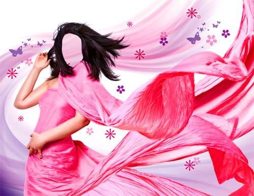 PSD шаблон для девушек - Фотосет в ярком платье