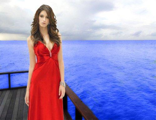 Шаблон psd - В красивом красном платье