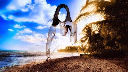 Шаблон для девушек - Девушка на фоне красивого острова