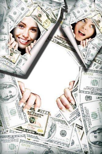 Красивая рамка для фотошоп - В зеленой валюте