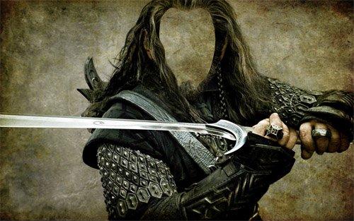 С мечом в руках - Шаблон psd