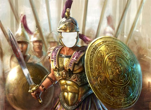 Шаблон для Photoshop - Воин с оружием в доспехах