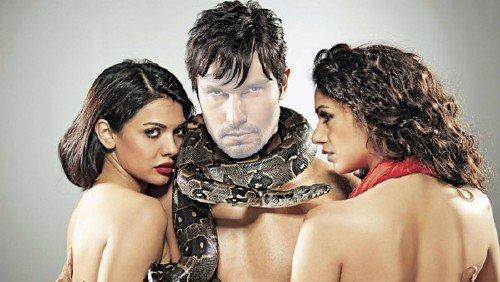 Шаблон мужской - С двумя девушками и змеей