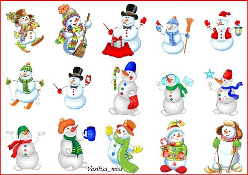 Клипарт снеговики - Подборка весёлых, ярких, забавных снеговиков