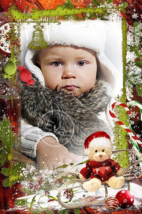 Детская рамка для фото - Катаемся на санках