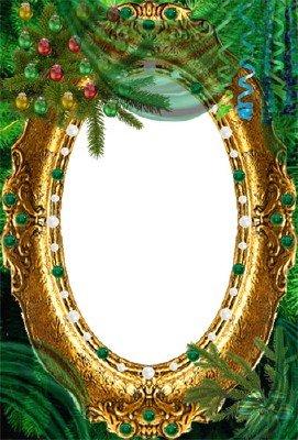 Рамка Зимний портрет в зелёных тонах