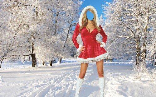 Шаблон для фотомонтажа - Девушка в новогоднем костюме
