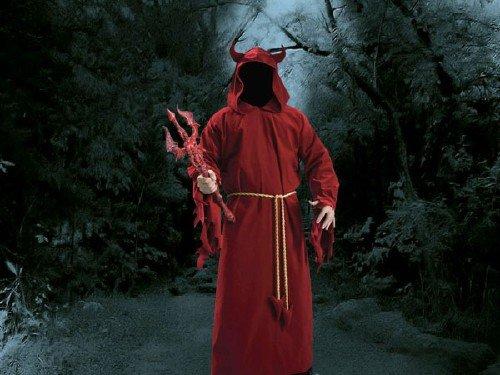 Photoshop шаблон - Дьявол с трезубцем в руках