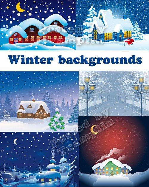 Зимние фоны – Дома, снег, ночь, луна