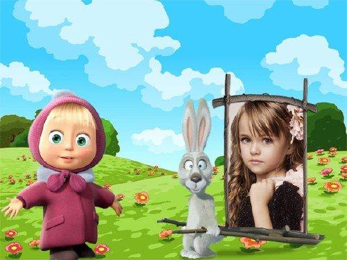 Рамка детская - Машенька и зайчик на полянке