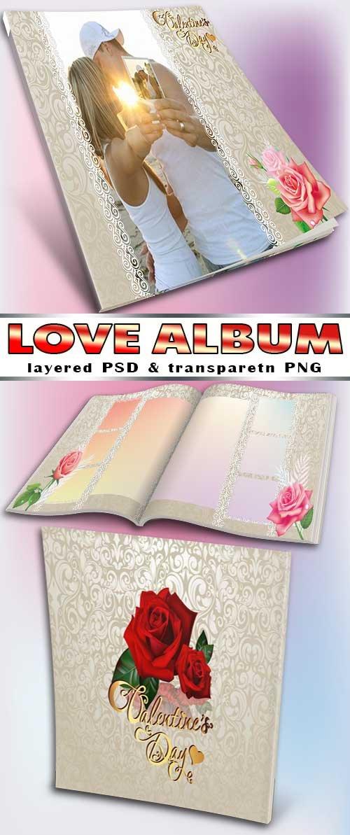 Винтажный книга с узорами Ко дню святого Валентина (фотошоп)