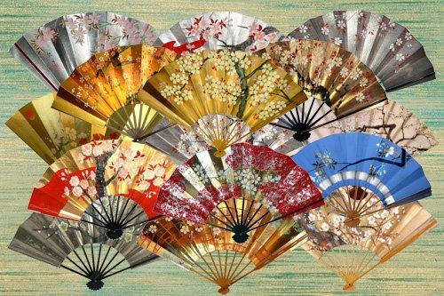 Клипарт Японские веера с сакурой
