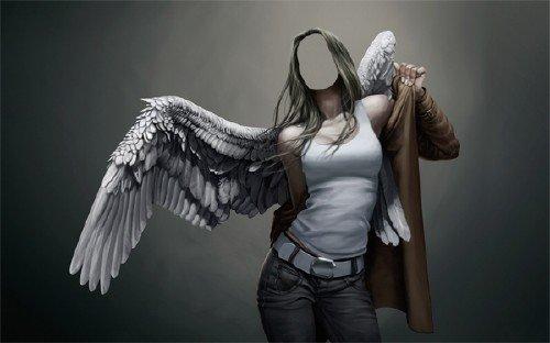 Девушка ангел с крыльями - Шаблон psd