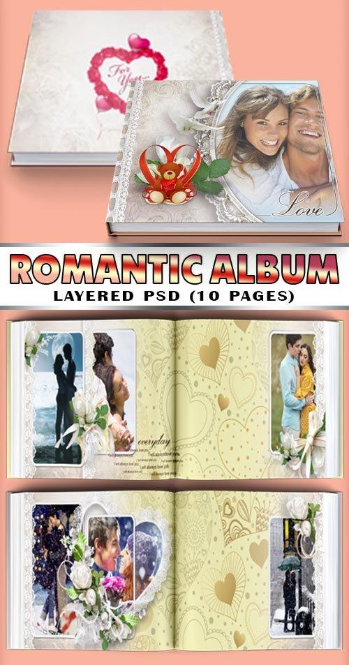 Яркий альбом с сердечками на день святого Валентина (10 psd pages)