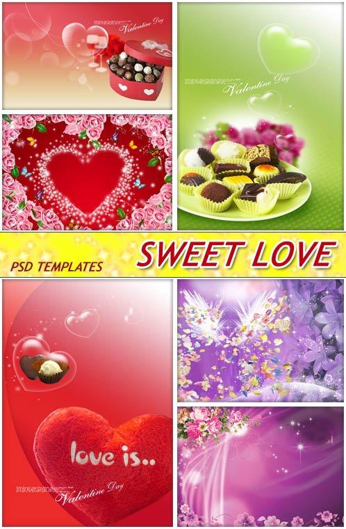 Незабываемые конфеты любви любимому (layered PSD)