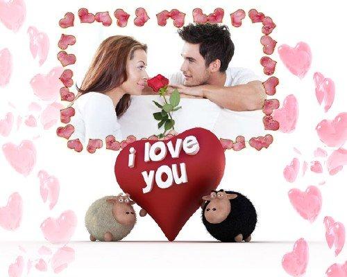 Рамка для фотошоп - Сердечки вокруг влюбленных