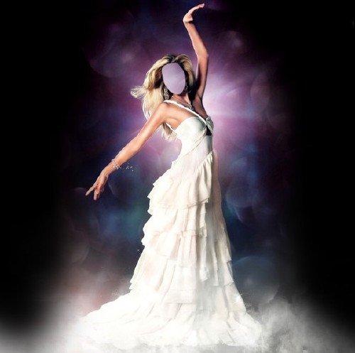 Шаблон psd - Изысканная девушка в шикарном платье белом