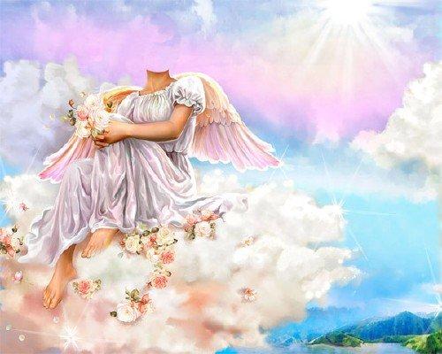 Женский шаблон - Ангел на небе с цветочками