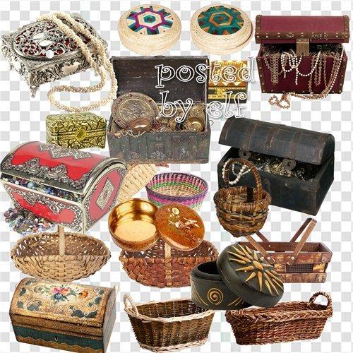 Ларцы, шкатулки, сундуки, корзины - клипарт в png