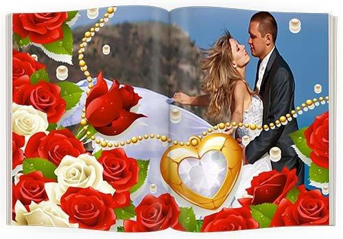 Фотоальбом - яркие цветы и любовь жених и невеста (PNG frames)