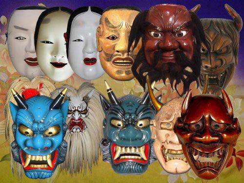 Клипарт Маски японских демонов и театральные