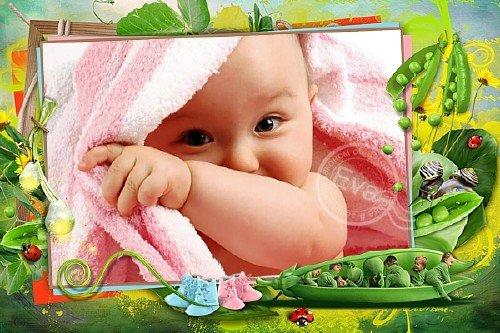 Детская рамочка для фотографий - Маленькие горошины
