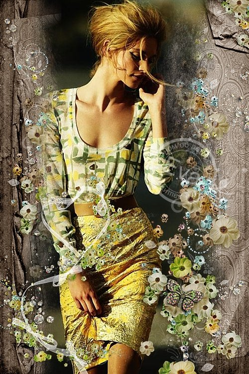 Рамочка для фотошоп - Танец с  цветами