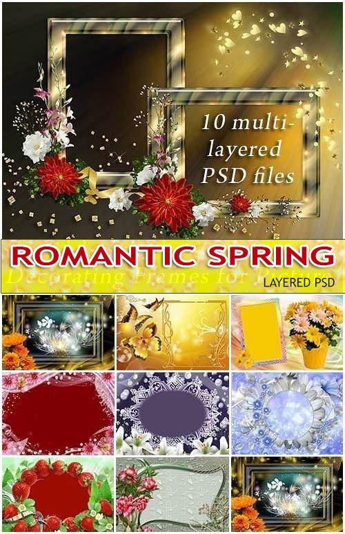 Скрап-рамочки весенние фоторамки - цветы и бабочки (PSD frames)