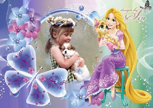Детская рамка для фотошопа - Принцесса Рапунцель с питомцем