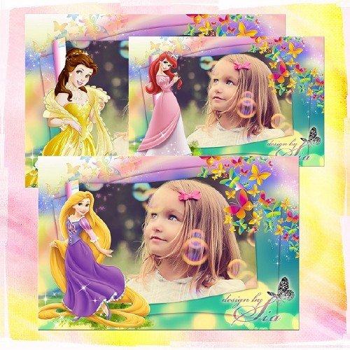 Детская рамка для фотографий - Принцессы Диснея: Рапунцель, Русалочка Ариэль, Бель