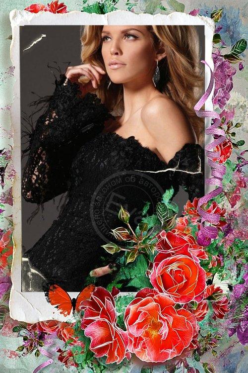 Рамочка для фотошоп - Мои красные розы